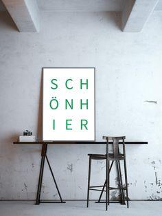 "Wohndeko in der Pantone Trendfarbe Greenery 2017, Plakat ""Schön hier"" / artprint ""beautiful here"", home decor made by goodGirrrl via DaWanda.com"