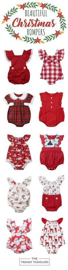 Shop our entire collection of baby girl Christmas rompers at thetrendytoddlers. Girls Christmas Outfits, Baby Girl Christmas, Holiday Outfits, Kids Outfits, Baby Girl Romper, Cute Baby Girl, Baby Dress, Baby Kids Clothes, Baby Sewing