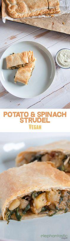 Vegan Potato & Spinach Strudel | ElephantasticVegan.com