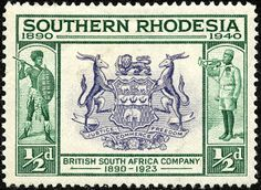 """Southern Rhodesia 1940 Scott 56 ½d deep green & dull violet """"Seal of British South Africa Company"""""""