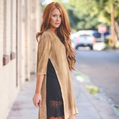 New Side Slit Tunic Color Latte New Side Slit Tunic will be your new Style staple go to pair with your leggings , dress extenders , jeans, shorts whatever your style this beauty has endless possibilities Tops Tunics