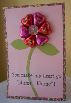 DIY Candy Valentine's Day Cards     Make a simple flower, butterfly or dinosaur card using chocolate candy hearts.