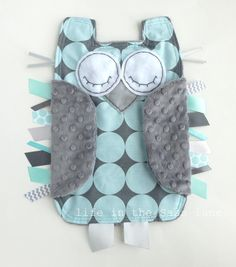 Sea Blue and Gray Disco Dot OWL Ribbon Tag by LifeInTheSassLane