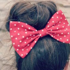 Red Polka Dot Hair Bow from on Etsy. Saved to for the hair. Bun Hairstyles, Pretty Hairstyles, Bun Bow, Cheer Bows, Love Hair, Gorgeous Hair, Hair And Nails, At Least, Polka Dots