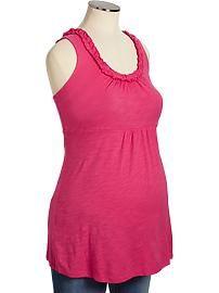 Maternity Ruffled Slub-Knit Tanks $15