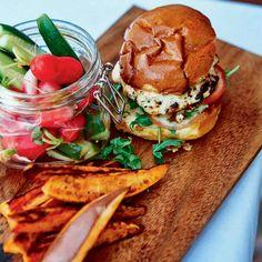 Chicken, Ricotta, and Bacon Burgers from the 'Malibu Farm Cookbook'- wonderful! Add avocado