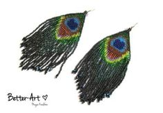 YOU CAN ORDER peacock earrings peacock feather by Magicbeading