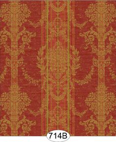 Wallpaper - Plaza Damask Stripe - Green on Red [WAL0714B] - $0.00 : itsy bitsy mini, Wholesale & Retail Dollhouse Wallpaper & Accessories