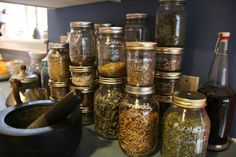 Dry your garden herbs - keep your kitchen organic and reuse those old jars :O)