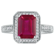 Ruby Jewelry: 3ct Antique Style Ruby and Diamond Ring in 14k White Gold | Fine Gemstone Jewelry