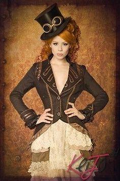 Gothic Steampunk Damenmode Jacken Mäntel Damenjacke Clubwear Abendmode schwarz