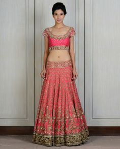 Red Embroidered Raw Silk Lengha - Manish Malhotra