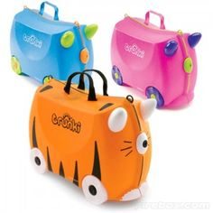 Next time you travel with your kids, they'll feel just like mom and dad with their own set of Trunki luggage. Trunki is colorful, sturdy and it even double