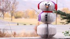 Simple and adorable snowman from book pages