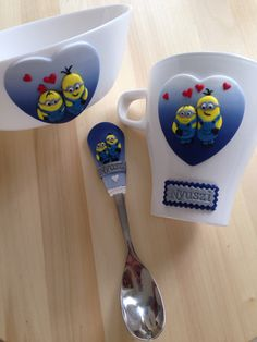 Minions polymer clay mug spoon & bowl
