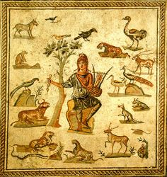 Roman mosaic depicting Orpheus, wearing a Phrygian cap and surrounded by the beasts charmed by the music of his lyre. Orpheus was a legendary musician, poet, and prophet in ancient Greek religion and myth. The major stories about him are centered on his ability to charm all living things and even stones with his music, his attempt to retrieve his wife, Eurydice, from the underworld, and his death at the hands of those who could not hear his divine music.
