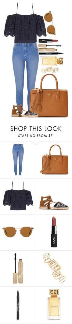 """Untitled #1578"" by fabianarveloc on Polyvore featuring River Island, Prada, Ganni, Aquazzura, Oliver Peoples, Stila, BP., Trish McEvoy and Tory Burch"