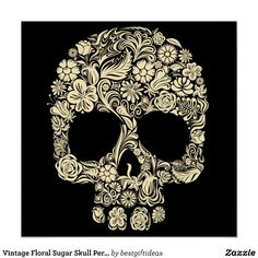 Vintage Floral Sugar Skull Perfect Poster