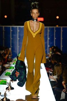 Fenty x Puma Autumn/Winter 2017 Ready to wear Collection | British Vogue / teddy bag /knitted jumpsuit