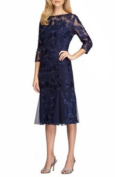 Alex Evenings Lace Midi Dress