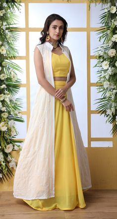 Yellow Georgette Party Wear Indo-Western Lehenga with Thread Embroidered Jacket Party Wear Indian Dresses, Designer Party Wear Dresses, Indian Gowns Dresses, Indian Bridal Outfits, Dress Indian Style, Indian Fashion Dresses, Indian Designer Outfits, Girls Fashion Clothes, Western Dresses For Girl