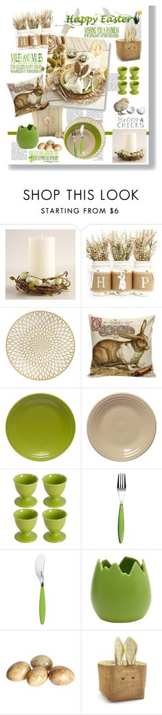 """Happy Easter in Green & Beige"" by feelgood35 ❤ liked on Polyvore featuring interior, interiors, interior design, home, home decor, interior decorating, Cost Plus World Market, Kim Seybert, Fiesta and Guzzini"