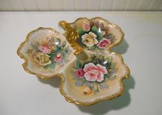 Vintage hand painted roses divided dish by SouvenirAndSalvage