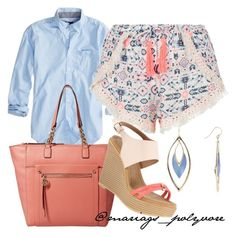 """""""coral+blue"""" by merypinkmermaid ❤ liked on Polyvore featuring American Eagle Outfitters, New Look, Tommy Hilfiger and Alexis Bittar"""