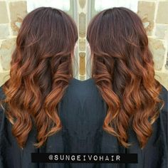 Auburn copper ombre balayage and layers