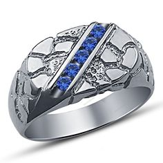 Blue Round Sapphire in 14k White Gold Plated 925 Silver Men's Wedding Band Ring…