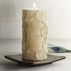 Golden Circle 3x6 Unscented Pillar Candle | Pier 1 Imports