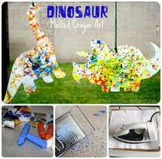 {Dinosaur Craft} Dinosaur Melted Crayon Art by Crayon Box Chronicles