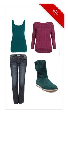 Colour &   Denim. A comfortable look to keep you cosy and warm for the first chilly autumn days. With these rich greens and ruby reds the autumn blues have no chance! A leisure outfit for every day.
