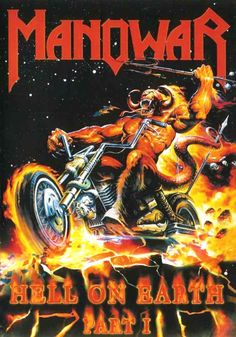 Manowar / Hell on Earth I / Album cover / 2001 (Ken Kelly) Rock Bands, Metal Bands, Hard Rock, Woodstock, Extreme Metal, Metal Artwork, Caricature, Album Covers, Heavy Metal