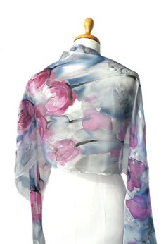 Tulips Hand Painted Silk Scarf. Birthday Gift. Blue Pink
