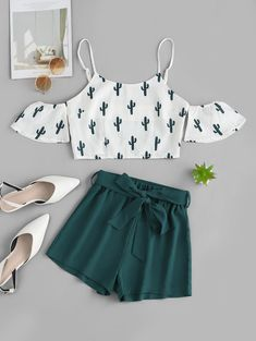 ZAFUL Cold Shoulder Cactus Print Top And Shorts Set WHITE A site with wide selection of trendy fashion style women's clothing, especially swimwear in all kinds which costs at an affordable price. Cute Lazy Outfits, Crop Top Outfits, Girly Outfits, Mode Outfits, Outfits For Teens, Pretty Outfits, Stylish Outfits, Cute Outfits For Summer, Shop This Look Outfits