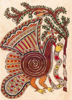 Madhubani or Mithila Paintings are said to have originated during the period of Ramayana, when King Janaka commissioned artists to do paintings during the wedding of his daughter, Sita to Lord Ram. The paintings usually depicted nature and Hindu religious motifs, the themes generally revolve around Hindu deities.http://handicrafts.exoticabazaar.com/view/4829-7-bird104.html