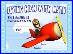 Flying High With Math Award:  You can find this printable award (and many other awards and certificates for math teachers) on Unique Teaching Resources.