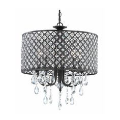 Ashford Classics Crystal Chandelier with Crystal Bead Drum Shade in Bronze 2235-148 at destination lighting.com