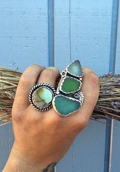 ☮ American Hippie Bohéme Boho Style Jewelry ☮ Abalone and Sea Glass Rings