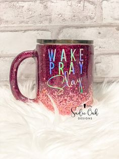rose gold and Burgundy ombre glitter tumbler, wake pray slay, stainless steel, travel mug for mom, g Happy Birthday Images, Birthday Gifts For Girls, Mom Birthday Gift, Birthday Sayings, 70th Birthday, Birthday Greetings, Birthday Wishes, Girl Birthday, Diy Tumblers