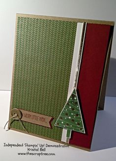 SU! Festival of Trees stamp set; Under the Tree DSP; Kraft, Whisper White and Cherry Cobbler cardstock; Garden Green and Cherry Cobbler ink; Versamark and gold embossing powder; Tree punch - Kristal Bell