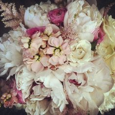 Krista's Bouquet // white peony, astilbe, stock and Ranunculus.