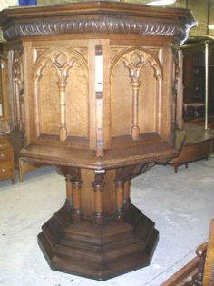 """Large beautiful carved oak """"Crow's Nest"""" Church Pulpit includes attached oak spiral staircase with a brass handrail. 80"""" tall, 62"""" X 62"""", floor measures 47"""" X 47"""", Base measures 46"""" X 46"""". Stairs measure between 27"""" & 32"""" each. C. 1890   $4500.00"""