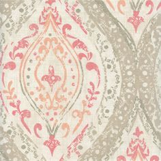 This is a peachy pink, tan and natural floral medallion cotton drapery fabric, suitable for any decor in the home or officeby Magnolia. Perfect for pillows, drapes and bedding.v225HAF