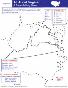 Worksheets: Virginia Geography