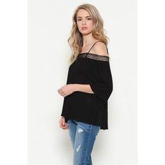 Lace Trim Open Shoulder Top