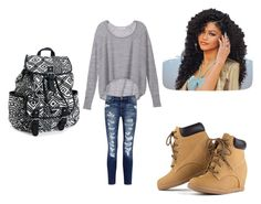 """""""Chilling with the clique"""" by hwarner6 on Polyvore featuring Victoria's Secret, Current/Elliott and Aéropostale"""