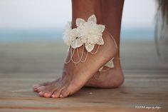 Flowers tangled on chain barefoot sandal beach wedding by FULYAK