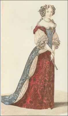 La duchesse de Fontanges était l'une des favorites du roi. Sa robe composée de deux jupes, dont celle du dessus, terminée par une traîne, est en tissu plus épais. Les couleurs écarlate et bleu foncé étaient particulièrement en vogue pendant la période...